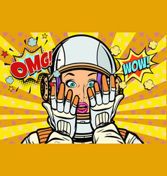 omg wow pop art woman astronaut vector image