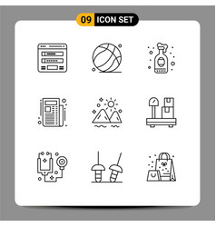 Pictograph set 9 simple outlines mountain vector