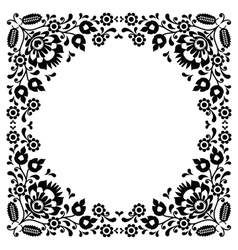 Polish floral folk black embroidery frame pattern vector