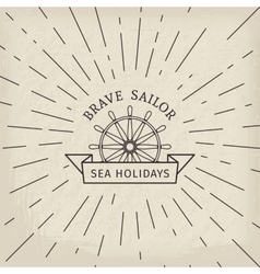 Retro nautical logo template vector