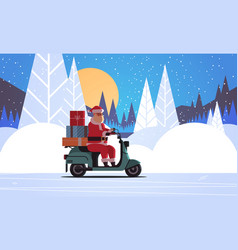 santa claus with gift present boxes riding vector image