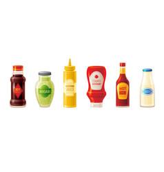 sauce set soy wasabi mustard ketchup hot chili vector image