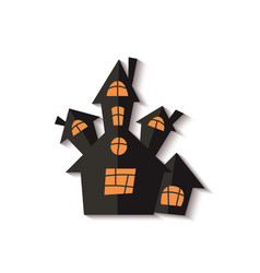 scary halloween ghost house or castle cut out vector image