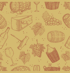 seamless pattern with wine design elements design vector image