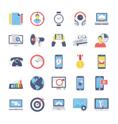 Seo and marketing flat colored icons 2 vector