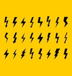 set electricity sign lightning icons vector image