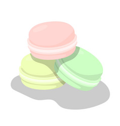 Set of colorful macarons on white background vector