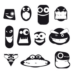 set of funny freak faces different emotions vector image
