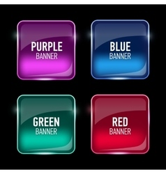 Set of glass purple red green and blue banners vector