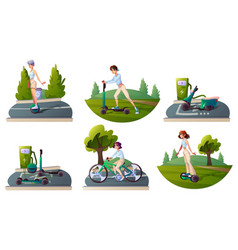 set people riding ecology transport and recharge vector image