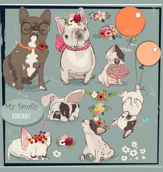 Set with cute bulldogs family vector