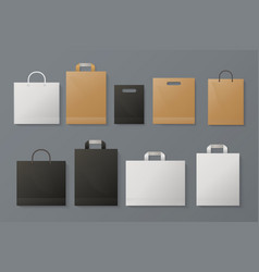 shopping bag mockup realistic white paper package vector image