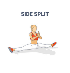 Side split female home workout stretching exercise vector