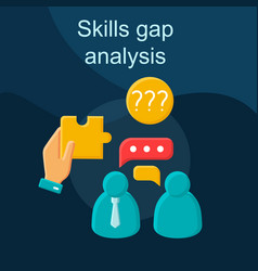 Skills gap analysis flat concept icon vector