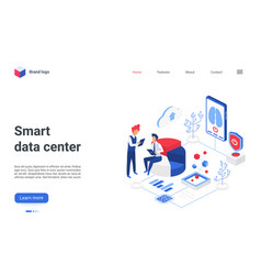smart data center isometric landing page people vector image