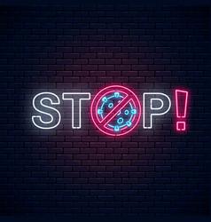 Stop text with coronavirus neon sign covid-19 vector