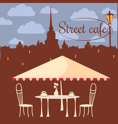 Street cafe city architecture coffee vector