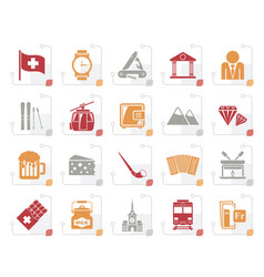 stylized switzerland industry and culture icons vector image