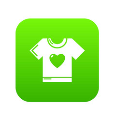 T-shirt heart icon green vector