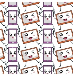 Technology devices pattern kawaii characters vector