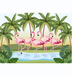 Tropical flamingos animals with palms and leaves vector