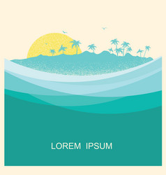 Tropical island with palms vintage style poster vector