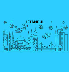 Turkey istanbul winter holidays skyline merry vector