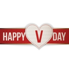 Valentines Day realistic Heart Tag and red Ribbon vector image
