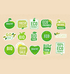 vegetarian labels eco healthy fresh food tags vector image