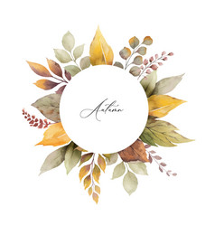 Watercolor autumn frame with leaves and vector
