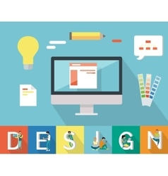 Web Design Conceptual in Flat Style vector