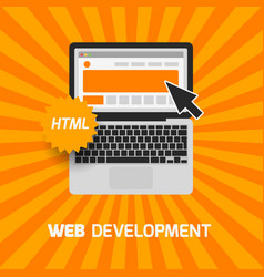 web development laptop icon create website vector image