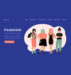 Web page design template for fashion clothing vector