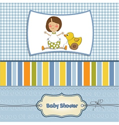 Welcome baby card with girl and and her duck vector