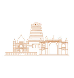 Welcome india monuments landmark traditional vector