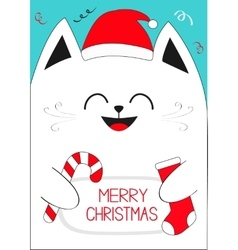 White Cat holding Merry Christmas text Candy cane vector