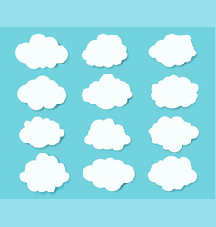 White clouds set with blue background vector