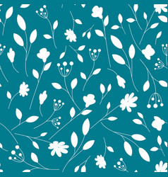 White floral pattern on a navy background summer vector