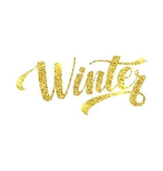 Winter Card Golden Shiny Glitter Lettering vector