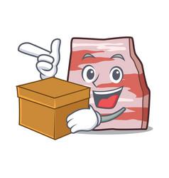 With box pork lard character cartoon vector