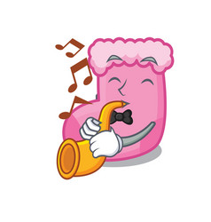with trumpet sock mascot cartoon style vector image