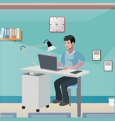 Business man invalid in office vector