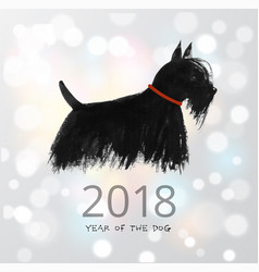 chinese new year greeting card with a dog on white vector image