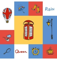 Great Britain Squared Doodle Concept vector image