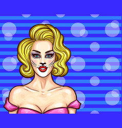 pop art beautiful blonde woman with cat vector image