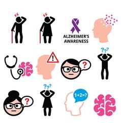 Seniors health - Alzheimers disease and dementia vector image vector image