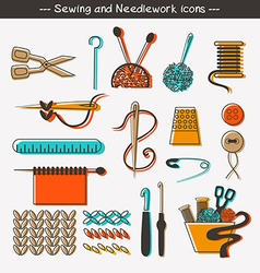 Sewing and needlework icons and design elements vector