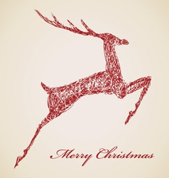 Sketch of red jump deer vector image