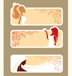 banners girls vector image vector image