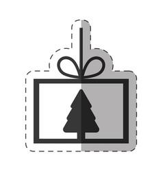 card tree pine christmas line vector image